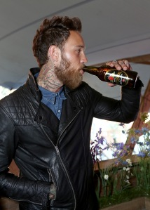 LONDON, ENGLAND - JUNE 10: Billy Huxley enjoying a refreshing Kopparberg Cider at the launch of the Kopparberg Urban Forest on June 10, 2015 in London, England. (Photo by David M. Benett/Getty Images for Kopparberg Urban Forest) *** Local Caption *** Billy Huxley