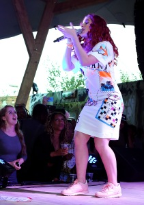 LONDON, ENGLAND - JUNE 10: Katy B performs at the Kopparberg Urban Forest, a free festival running for five weeks in Hackney Wick, on June 10, 2015 in London, England. (Photo by David M. Benett/Getty Images for Kopparberg Urban Forest) *** Local Caption *** Katy B