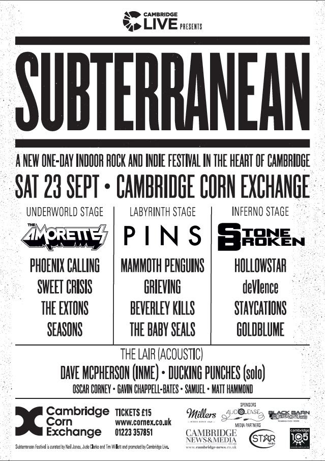 Line-Up Announced For SUBTERRANEAN: A New Indoor Rock And Indie